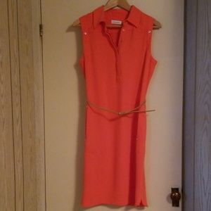 Calvin Klein Orange and Gold Dress
